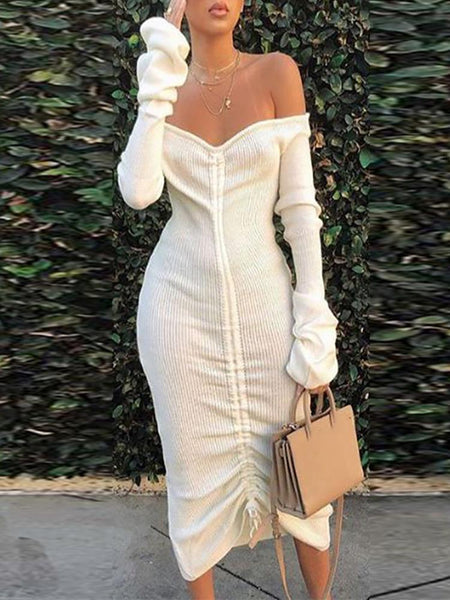 Off Shoulder Drawstring Design Dress