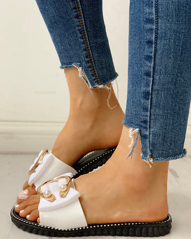 Studded Bead Ring Design Flat Sandals