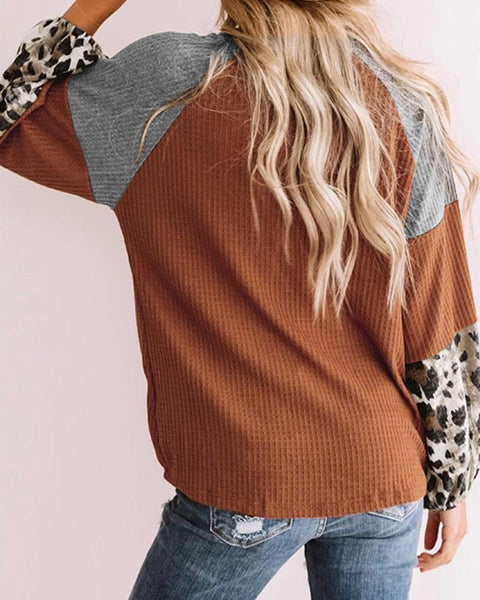 Cheetah Print Colorblock Long Sleeve Sweatshirt