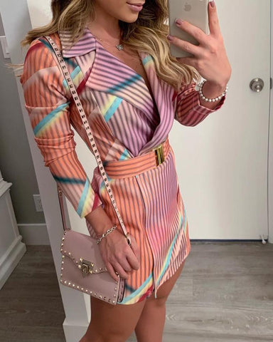 Colorful Striped Print Blazer Dress