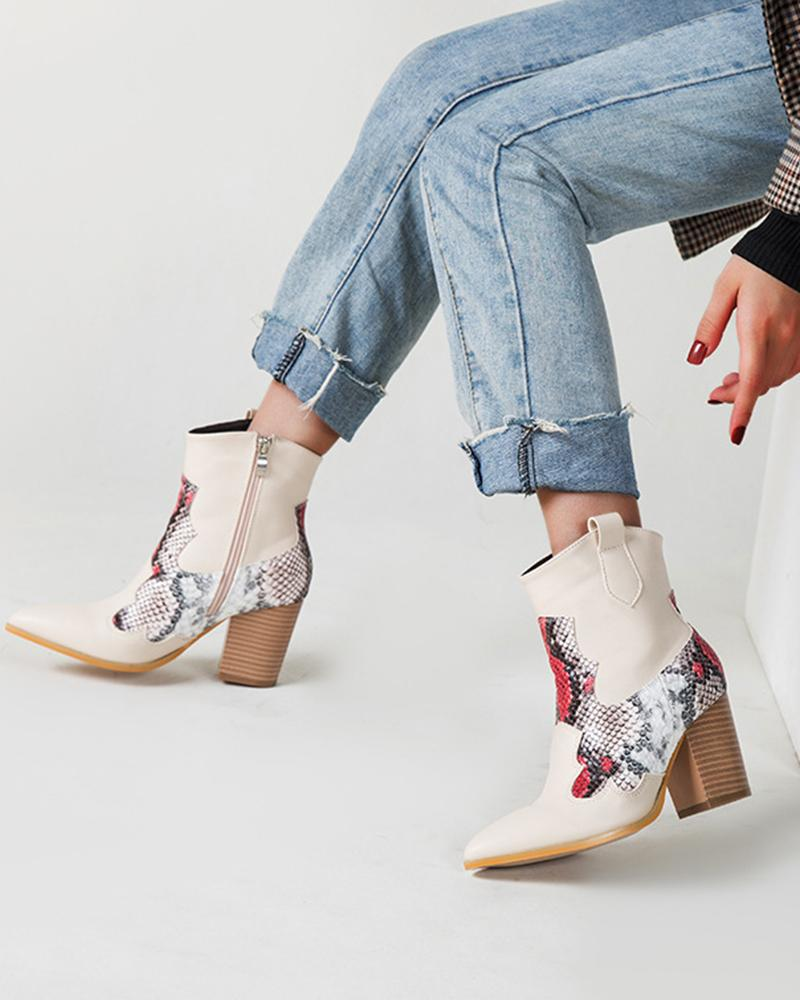 Stitching Skankeskin Pointed-toe Western Boots