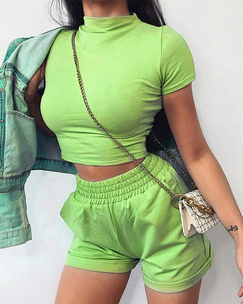 Solid Color Short Sleeve Skinny Cropped Top And Short Pants Suit Sets