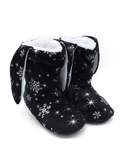 Christmas Snowflake Print Ear Design Indoor Boots