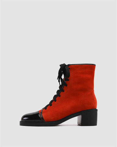 Colorblock Round-toe Block Heel Lace-up Boots