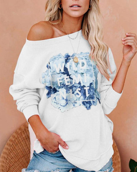 Letter&Floral Printing Long Sleeve Sweats