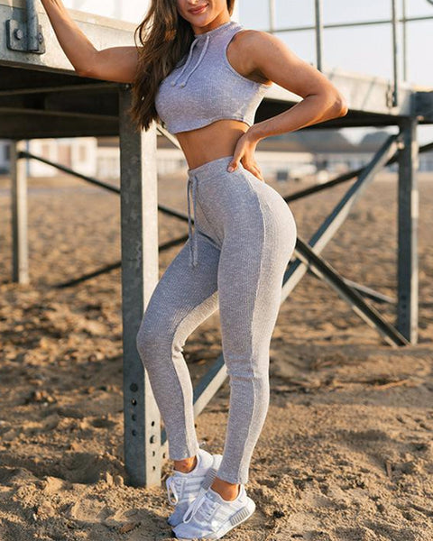 Solid Color Sleeveless Lace-up Skinny Sweatpants Sets