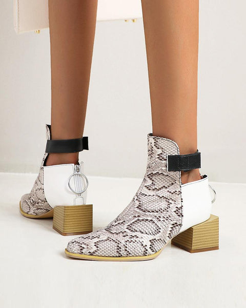 Colorblock Splicing Square-toe Block Heel Ankle Boots