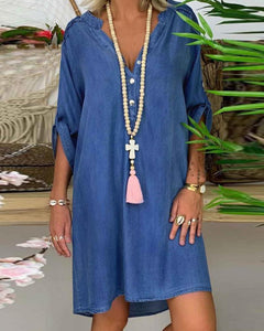V Neck Half Button Denim Dress