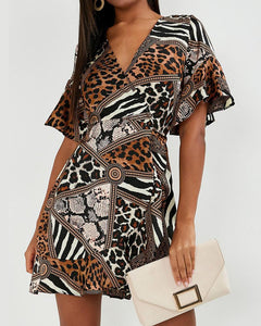 Print Colorblock Short Sleeve Loose Ruffles Skinny Wasit Dress