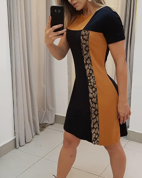 Striped&Leopard Colorblocked Short Sleeve Sheath Dress