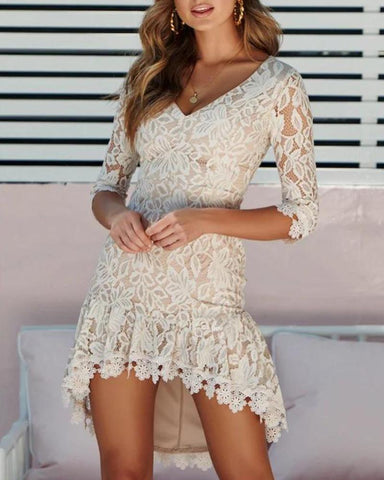 Backless V Neck Lace Dress