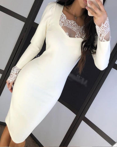 Solid Lace Insert Bodycon Dress