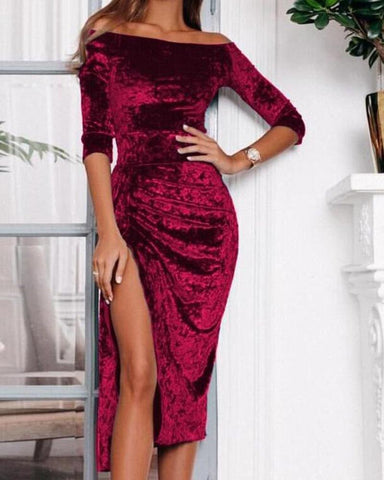 Off Shoulder High Slit Printed Velvet Dress