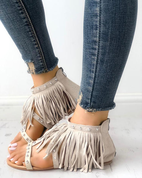 Rivet Tassel Open Toe Flat Sandals