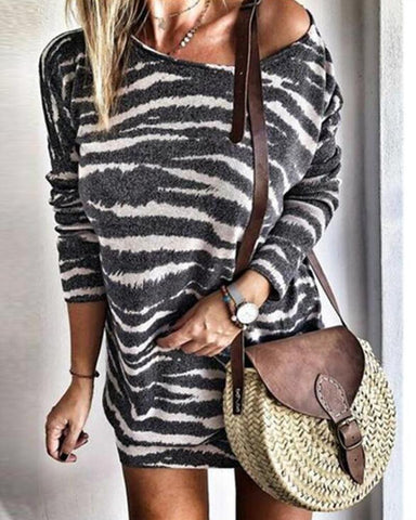 Round Neck Striped Mini Dress