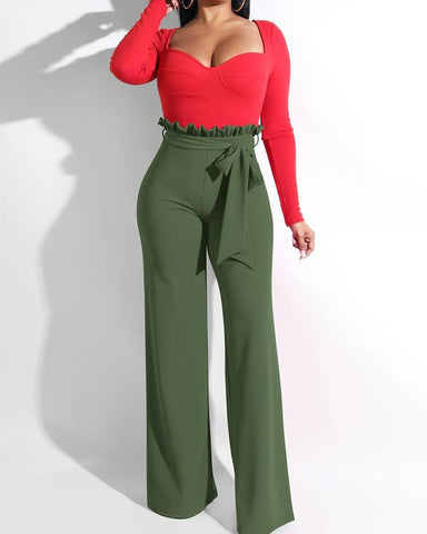 Frills High Waist Wide Leg Belted Pants