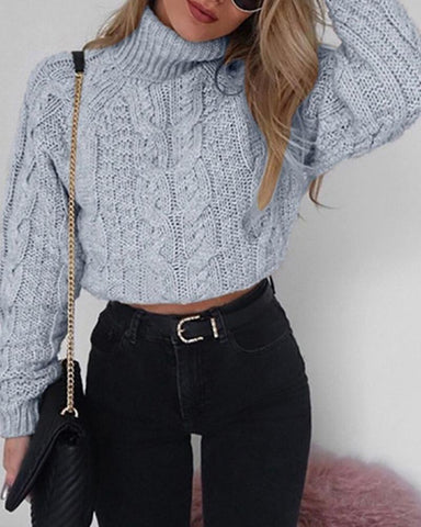 Solid High Neck Cut-out Sweaters