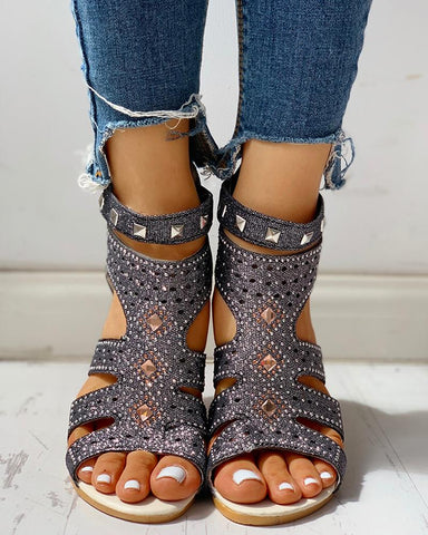Studded Cut Out Wedge Sandals