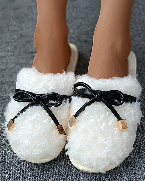 Bowknot Fluffy Slippers