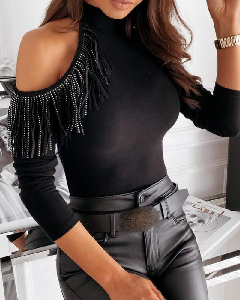 Cold Shoulder Studded Tassel Long Sleeve Top