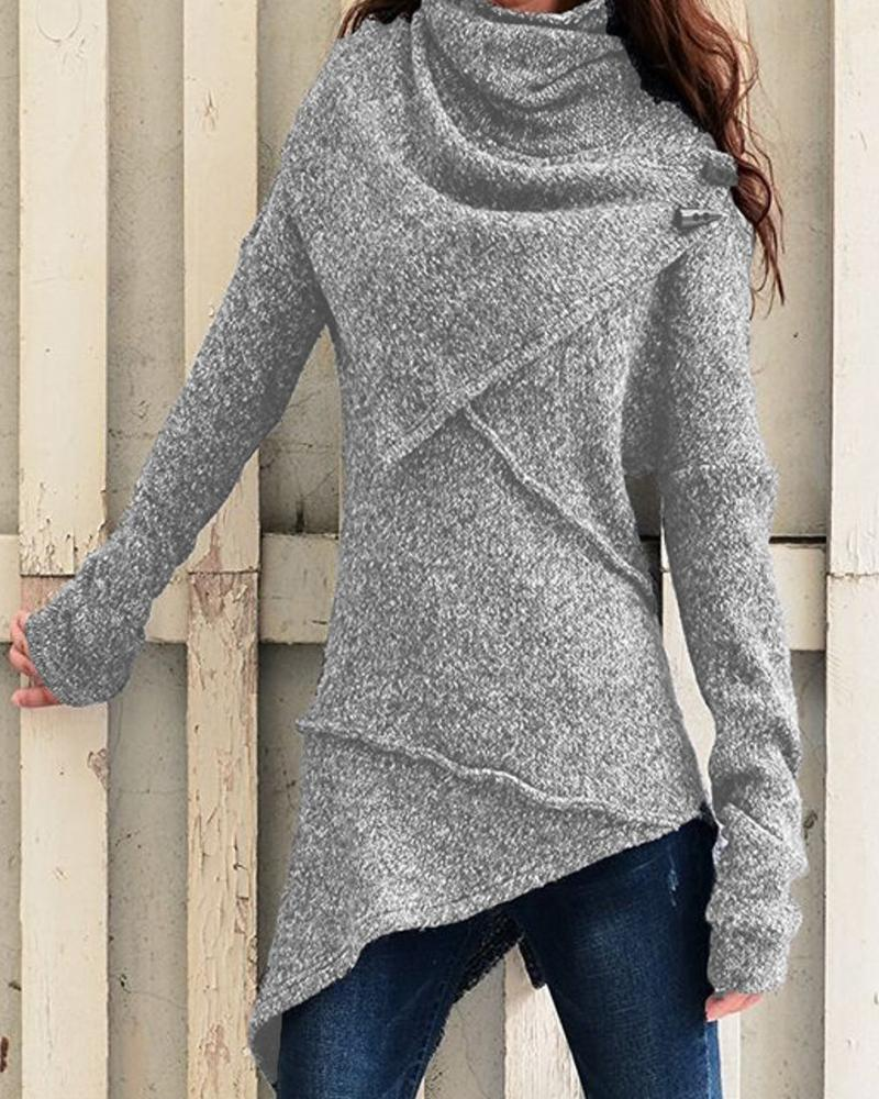 Solid Long Sleeve Loose Knitted Sweater