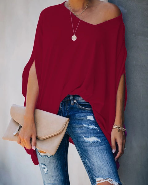Solid Color Bat Sleeve Blouse