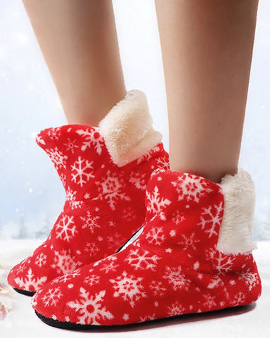 Christmas Snowflake Print Fluffy Indoor Boots