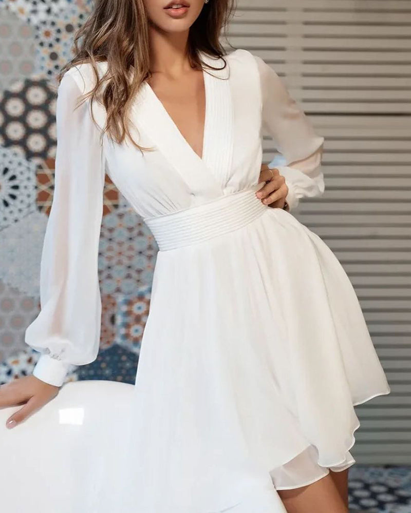 Plain Deep V Neck Long Sleeve Dress