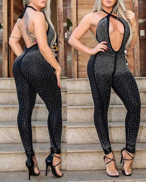 Halter Studded Cutout Front Open Back Jumpsuit