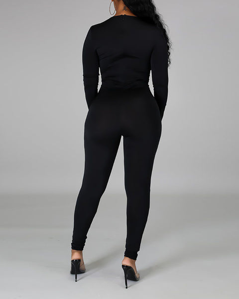 Chain Lace-up Long Sleeve Jumpsuit
