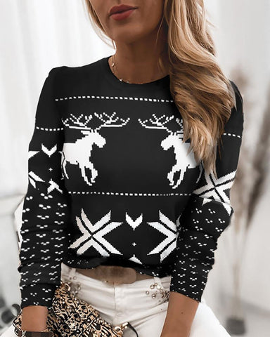 Christmas Mixed Print Casual Long Sleeve Sweater