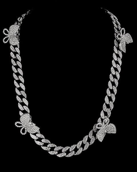 Butterfly Studded Chain Layered Pendant Necklace