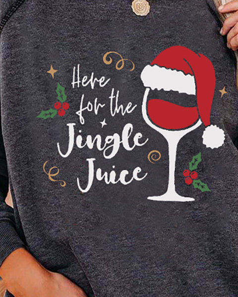 Christmas Letter Wine Glass Print Long Sleeve Top