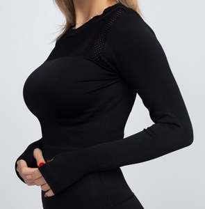Crop Top - Black, long sleeves
