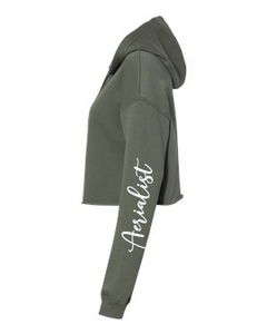 Military green fleece crop for aerial warm-ups