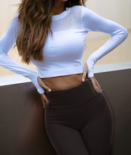 Load image into Gallery viewer, Crop Top - White, long sleeves