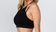 Mesh Overlay Sports Bra - Black