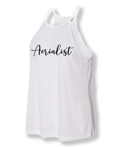 White aerialist high neck tank