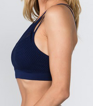 Load image into Gallery viewer, Mesh Overlay Sports Bra - Navy Blue