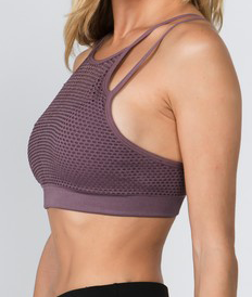 Mesh Overlay Sports Bra - Light purple