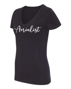 Aerialist V-neck t-shirt in black