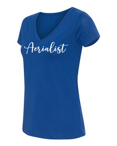 Aerialist V-neck t-shirt in blue