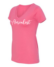 Load image into Gallery viewer, Aerialist V-neck t-shirt in pink