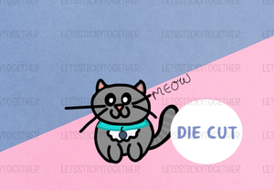 Grey Kitty Die Cut Sticker