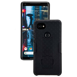 "Google Pixel 2 XL Holster Case with Belt Clip - Protective Heavy Duty 5.5"" Pixel 2 XL Case with Kickstand Swivel - Rugged Shell Holster Combo - Black"
