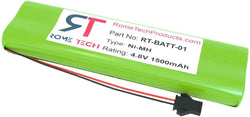 Rome Tech 4.8V 1500mAh Ni-MH AA Battery for Monitor / Videophone / Exit Light / CleanWave Light Wand