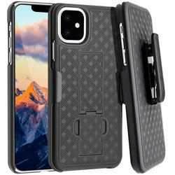 "Apple iPhone 11 6.1"" (2019) Rome Tech Shell Holster Combo Case - Black"
