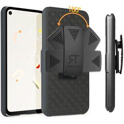 Google Pixel 4A Case with Belt Clip - Slim Heavy Duty Google Pixel 4A Protective Case with Kickstand Clip Holster - Black