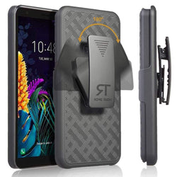 "Motorola Moto E6 5.5"" (2019) Rome Tech Shell Holster Combo Case - Black"