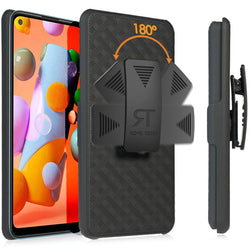 Samsung Galaxy A11 Case with Belt Clip - Slim Heavy Duty Samsung Galaxy A 11 Protective Case with Kickstand Clip Holster - Black